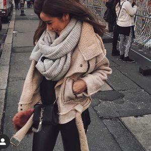 Tan beige shearling Moro jacket coat